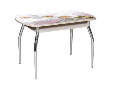 Стол раздвижной со стеклом Грация Розовая орхидея
