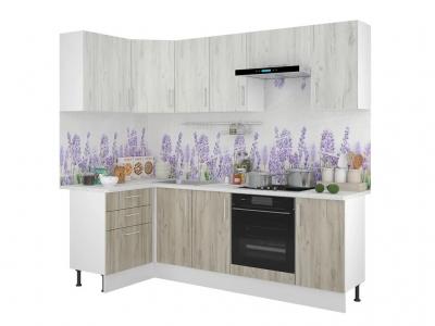 Кухонный гарнитур угловой Европа 1200х2400 Белый-Серый Крафт