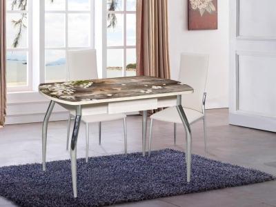 Стол со стеклом Грация с ящиком 1100