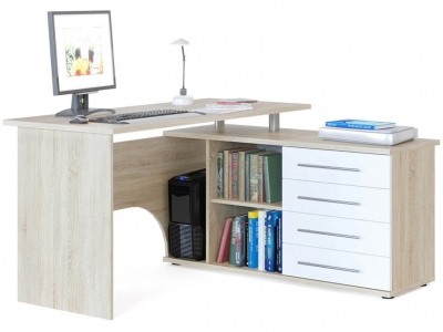 Компьютерный стол Сокол КСТ-109 правый Дуб Сонома/Белый