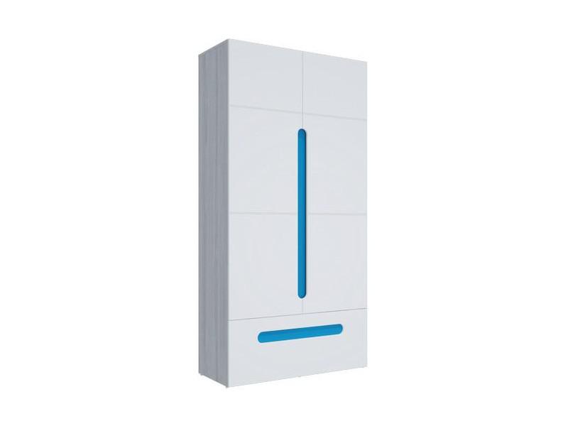 Шкаф 2-х створчатый с ящиками Палермо-3 Юниор синяя вставка 1068х2078х381 мм
