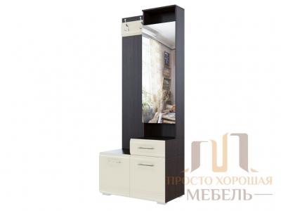 Вешалка с зеркалом 1966 (0,8м) СВ No 1 Дуб венге/Жемчуг