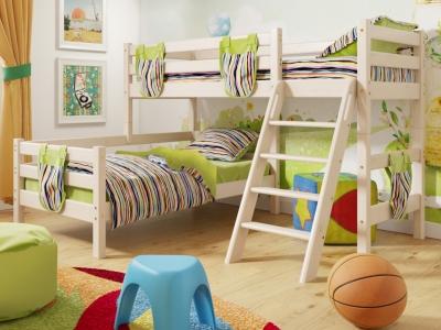 Угловая кровать Соня с наклонной лестницей No 8