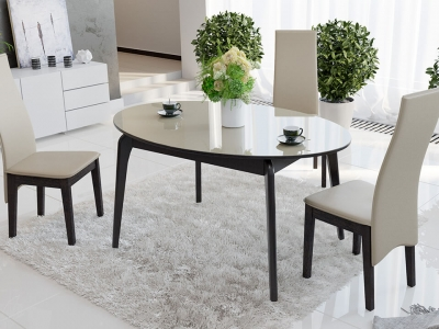 Стол обеденный раздвижной со стеклом Марсель СМ(Б)-102.01.12(1) Венге