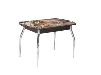 Стол раздвижной со стеклом Грация Ветка вишни-Венге