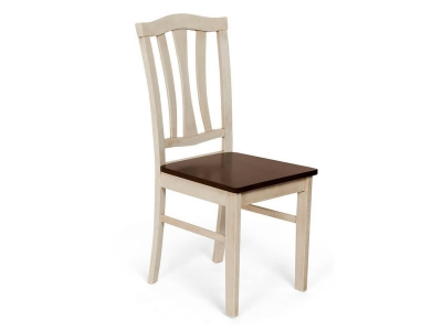 Стул с твёрдым сиденьем Ct 8162 Античный Белый - Тёмный Дуб