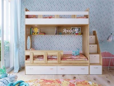 Кровать двухъярусная Юниор 1 с бортиком фасад для рисования феритейл