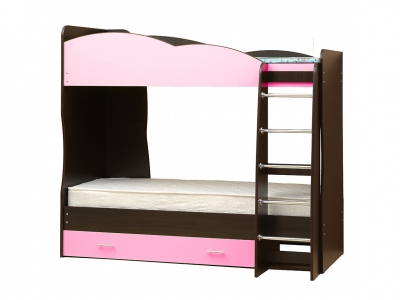 Кровать детская двухъярусная Юниор-2.1 Светло-розовый
